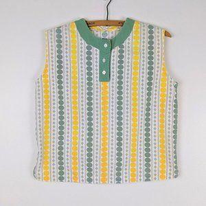 Vintage 1960s Yellow Green Dot Crop Top